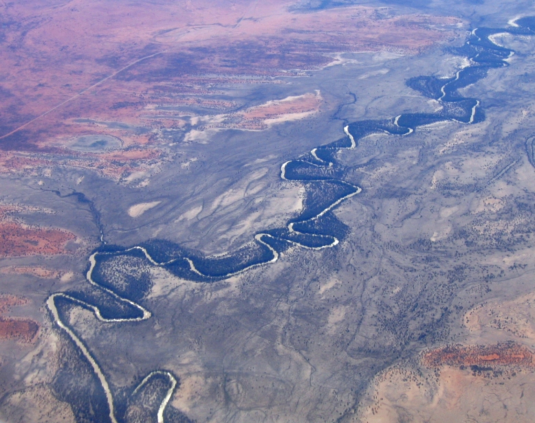 A drainage basin is an area in which all water that falls as rain drains to one point. This is the Murray-Darling basin, which drains into the Murray in South Australia