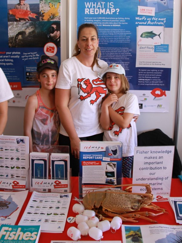 Gretta and her two daughters, Amelie and Ruby, promoting Redmap