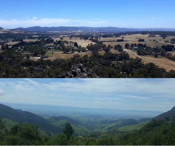 The views from Hanging Rock (Victoria, Australia, top) and Serra da Mantiqueira (São Paulo, Brazil, bottom). Both show degraded landscapes with patches of remaining forests, pastures and human settlements. (Image Credit: Marina Schmoeller, CC BY 2.0)
